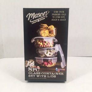 Mason Craft & More 8pc Glass Container Set w/Lids